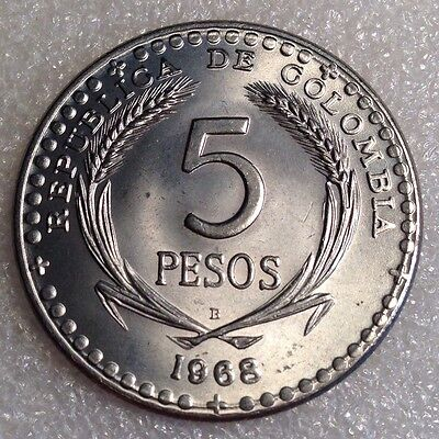 Colombia 5 Pesos 1968 B Large UNC Coin Copper-Nickel