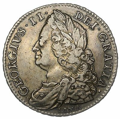 1746 Lima Halfcrown - George Ii British Silver Coin - V Nice (Ex Spink Auctions)