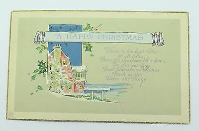 Antique Christmas Postcard Stetcher Arts Crafts Brick Lake House Snow Holly Leaf