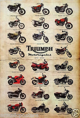 """Triumph Motorcycles Poster """"1970 - 2009, 23 Models""""- British Motorbikes & Cycles"""