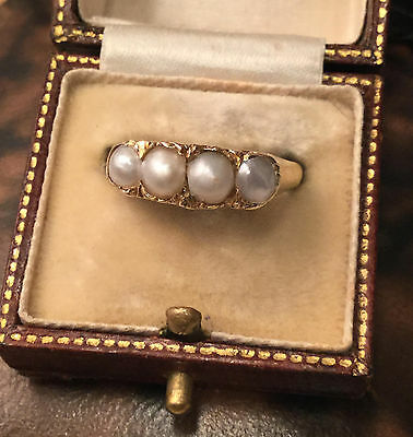 Antique, Victorian 18ct, 18k, 750 Yellow Gold Natural Pearl Ring Circa 1890