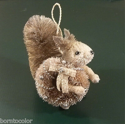Pottery Barn Christmas Holiday BOTTLE BRUSH SQUIRREL Ornament with WREATH