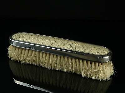 A Hallmarked English Silver & Shagreen Backed Brush - Date: 1923.