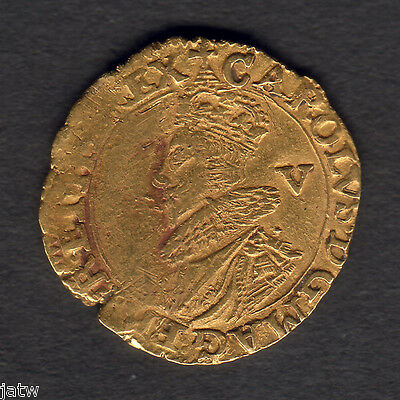 Great Britain. 1625-26 Charles 1 - Gold Crown.. MM-Cross Calvary.. VF