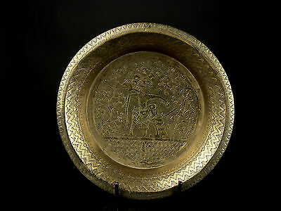 A 19th c. Indonesian (East Java) Brass Salver - Figurative Decoration.