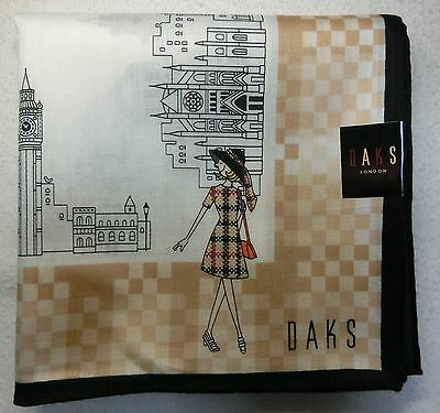 "DAKS London girl handkerchief beige  58x58cm(22.84"") cotton 100% made in Japan"