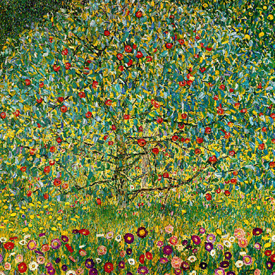 Apple Tree Flowers Symbolism Painting By Klimt On Canvas Repro Large