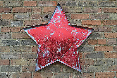 Funky Huge Metal Star Sign Distressed Metallic Red Finish Fairground Sign Srl