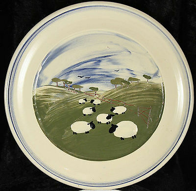 Caroline Smith Abbot Pottery sheep plate 11 inches across Farm animals