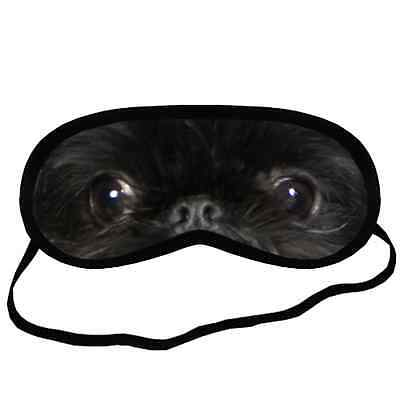 New Design Black BRUSSELS GRIFFON EYES Dog Puppy Polyester SLEEPING MASK Cover