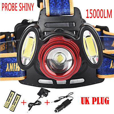 Zoom 15000Lm 3x CREE XML T6 LED HeadLight Torch USB Rechargeable Headlamp Lamp