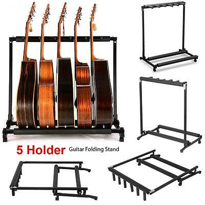 5 Way Multi Guitar Rack Padded Holder Stand Electric Acoustic Bass uk