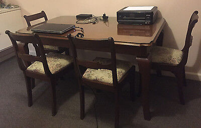 Antique Dinning Table + 4 Chairs Rosewood