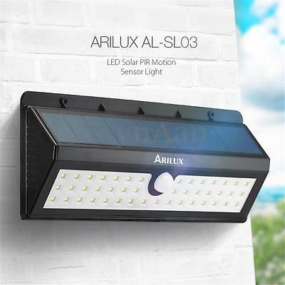 ARILUX 44 LED Solar Powered Wireless PIR Motion Sensor Security Shed Wall Light