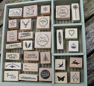 East of India wooden rubber stamps Christmas stamp gift tags crafts scrapbooking