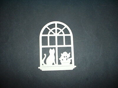 Cat and flowers in domed window die cuts x 8