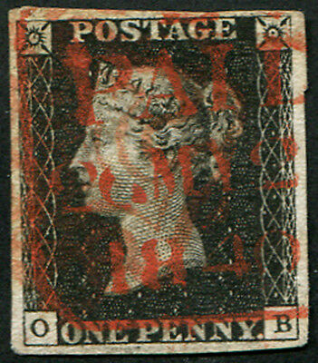 1840 1d Pl.4 'QB' LONDON TOMBSTONE 'PAID' CANCEL IN RED, DATED 'MAY.20.1840', s