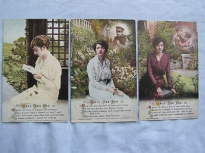 """SONG POSTCARDS x 3 - """"ONLY FOR YOU"""" - BAMFORTH - c.1916"""