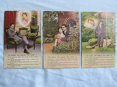 """SONG POSTCARDS x 3 - """"TO HAVE, TO HOLD, TO LOVE"""" - BAMFORTH - c.1916"""
