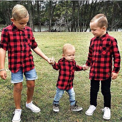Toddler Kids Baby Boy Cotton Long Sleeve Plaid T-shirt Top Blouse Clothes 1-7T