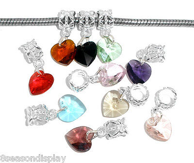 50 Mixed Imitation Heart Crystal Glass Faceted Dangle Beads 24x10mm