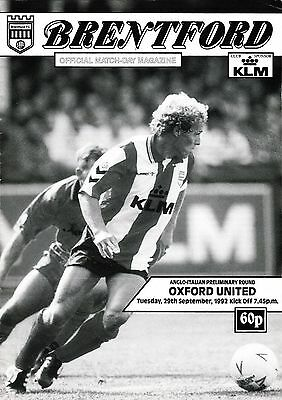 Football Programme BRENTFORD v OXFORD UNITED Sept 1992 Anglo-Italian Cup