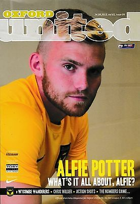 Football Programme OXFORD UNITED v WYCOMBE WANDERERS Aug 2013