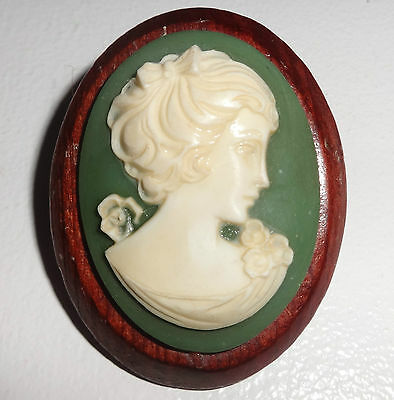 Resin Cameo Brooch Pin On Wedgwood Green And Wooden Base Vintage 1950 1960