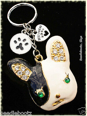 French Bulldog Key Ring. Paw Prints Best Friend. Hand Made. For Frenchie Lovers.