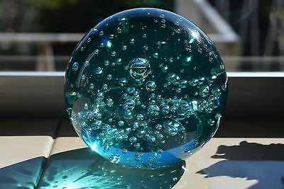 WOW! Stunning BLUE GLASS Paperweight ~ Controlled Bubble ~ Paper Weight