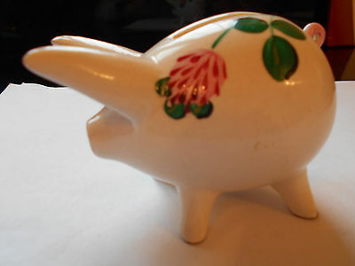3 Leaf Clover Decorated Plichta Wemyss Pig Money Box 4 Inches Long No Damage