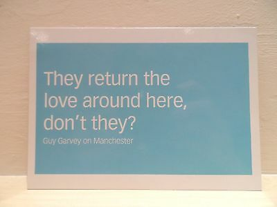 Guy Garvey A5 Postcard Manchester Quote Elbow Blue White