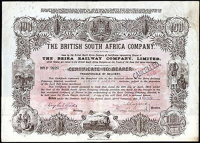 Rhodesia/Mozambique: Beira Railway, 100 shares issued by British South Africa Co