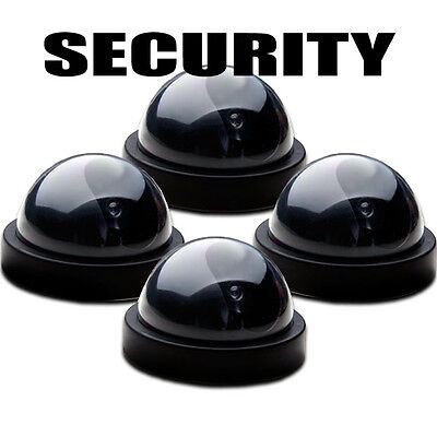 (4) Dome Fake Dummy Surveillance Flashing LED Camera Business Security Dummy