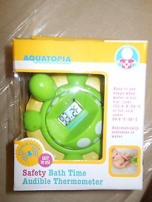 Aquatopia Safety Bath Time Audible Thermometer, Turtle, Alarm, New