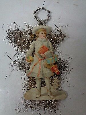 Very Old Christmas Ornament - Tinsel & Diecut  - Winter Girl with Gifts