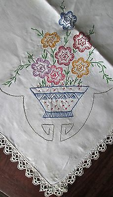 """antique linen tablecloth 55x50"""" w naive hand embroidery, tatting all around"""