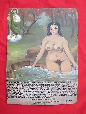 Naked Woman Bathing In River Tin Retablo Ex Voto Painting By Viri Canseco