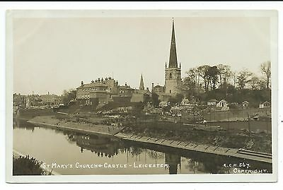 LEICESTER - ST MARY'S CHURCH & CASTLE Houghton Real Photo Postcard