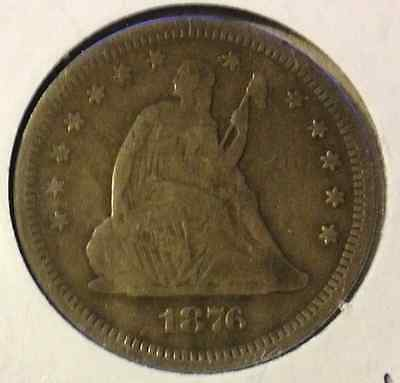 1876 S SEATED LIBERTY QUARTER FINE w/OLD CLEANING