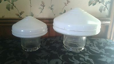 Beautiful match design pair of vtg ART DECO glass ceiling light fixture shades