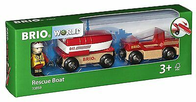 New! 33859 BRIO Rescue Boat (Wooden Railway Rolling Stock) Age 3 Years+