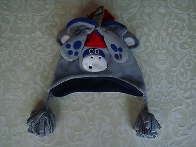 New Next Baby Boys Fleece Hat with Tassels and Matching Mittens 3 - 6 Months