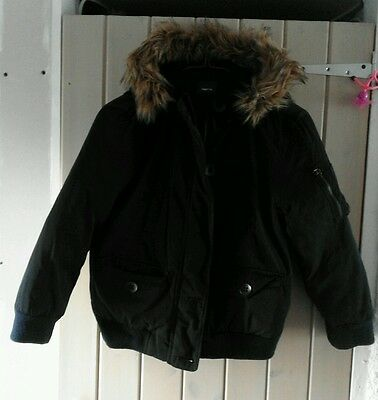 Gap Kids Warm Hooded Winter Coat - Bomber Jacket Fur Trim - Age 8
