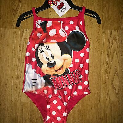 BNWT Swimsuit Swimming Costume Girls Minnie Mouse Red Swimwear Age 4-5 yrs