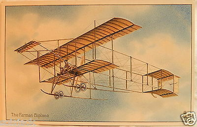 ANTIQUE POSTCARD THE FARMAN BIPLANE EDUCATIONAL SERIES AVIATION No 9 - R TUCK