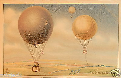 ANTIQUE POSTCARD THE SPHERICAL BALLOON EDUCATIONAL SERIES AVIATION No 9 By TUCK
