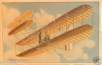 ANTIQUE POSTCARD WRIGHT BROS BIPLANE EDUCATIONAL SERIES AVIATION No 9 - R TUCK
