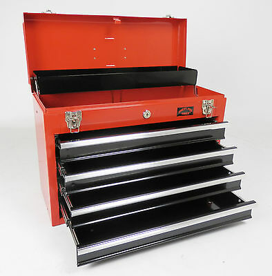 Red And Black Large Lightweight Tool Chest With Key Lock And 4 Draws