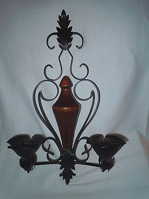 VINTAGE 70s BLACK WROUGHT IRON, WOOD AND METAL ORNATE DOUBLE CANDLE WALL SCONCE